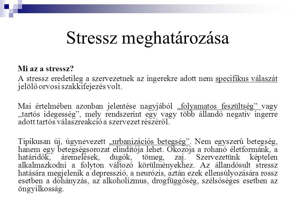 A stressz folyamata Amikor a szervezet kilendül nyugalmi állapotából, fokozottan reagál az ingerekre, aktiválódnak az egyensúlyt újra megteremtő szabályozó rendszerek, stresszes állapot alakul ki.