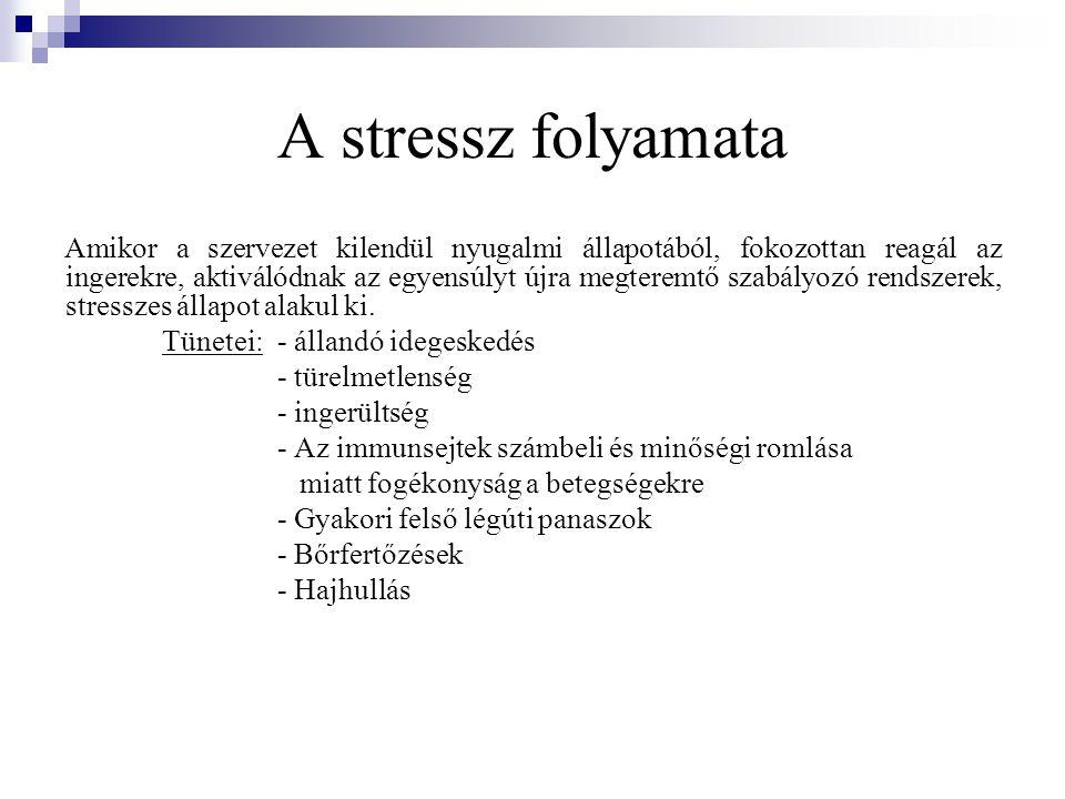 A stressz folyamata Amikor a szervezet kilendül nyugalmi állapotából, fokozottan reagál az ingerekre, aktiválódnak az egyensúlyt újra megteremtő szabá