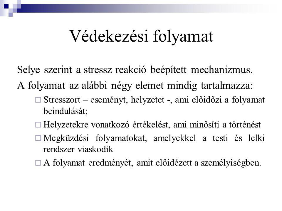 Védekezési folyamat Selye szerint a stressz reakció beépített mechanizmus. A folyamat az alábbi négy elemet mindig tartalmazza:  Stresszort – esemény