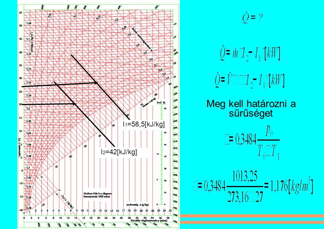 I 1 =58,5[kJ/kg] I 2 =42[kJ/kg] Meg kell határozni a sűrűséget
