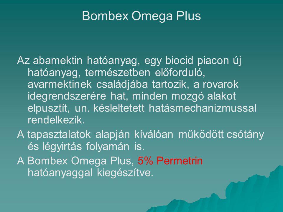 Bombex Omega Plus Az abamektin hatóanyag, egy biocid piacon új hatóanyag, természetben előforduló, avarmektinek családjába tartozik, a rovarok idegren