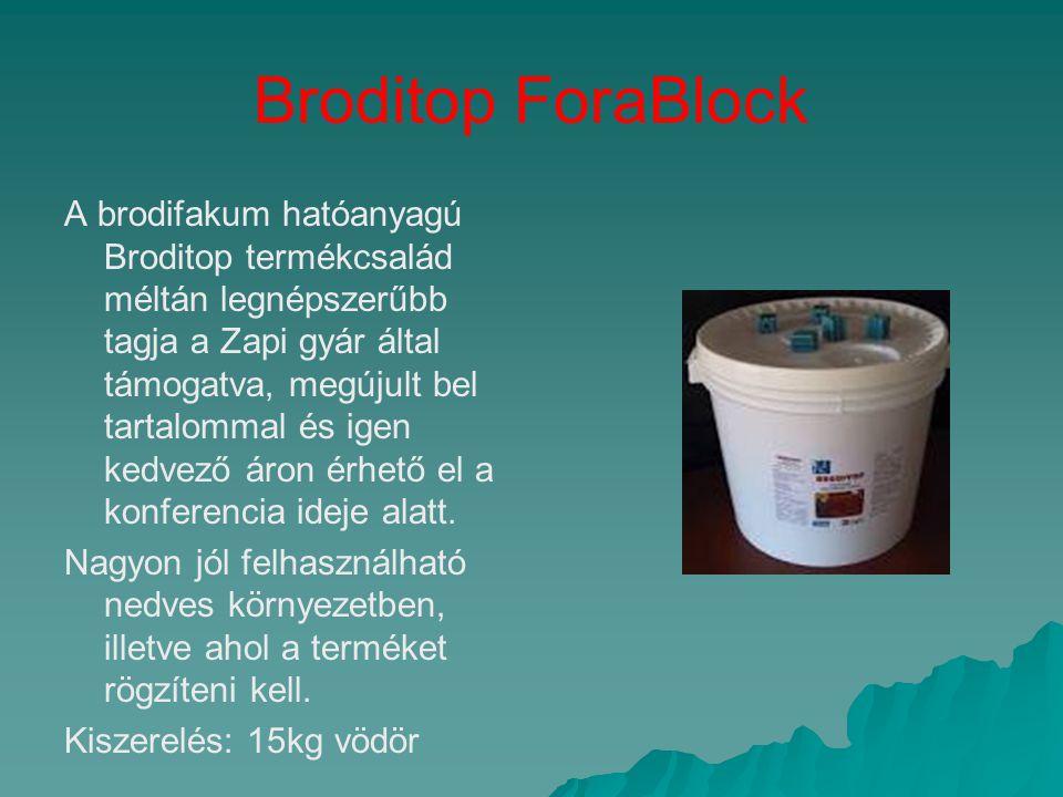 Broditop ForaBlock A brodifakum hatóanyagú Broditop termékcsalád méltán legnépszerűbb tagja a Zapi gyár által támogatva, megújult bel tartalommal és i