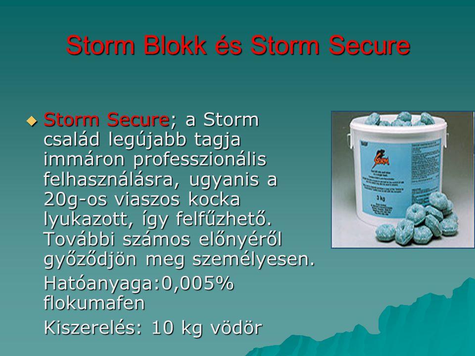 Storm Blokk és Storm Secure  Storm Secure; a Storm család legújabb tagja immáron professzionális felhasználásra, ugyanis a 20g-os viaszos kocka lyuka