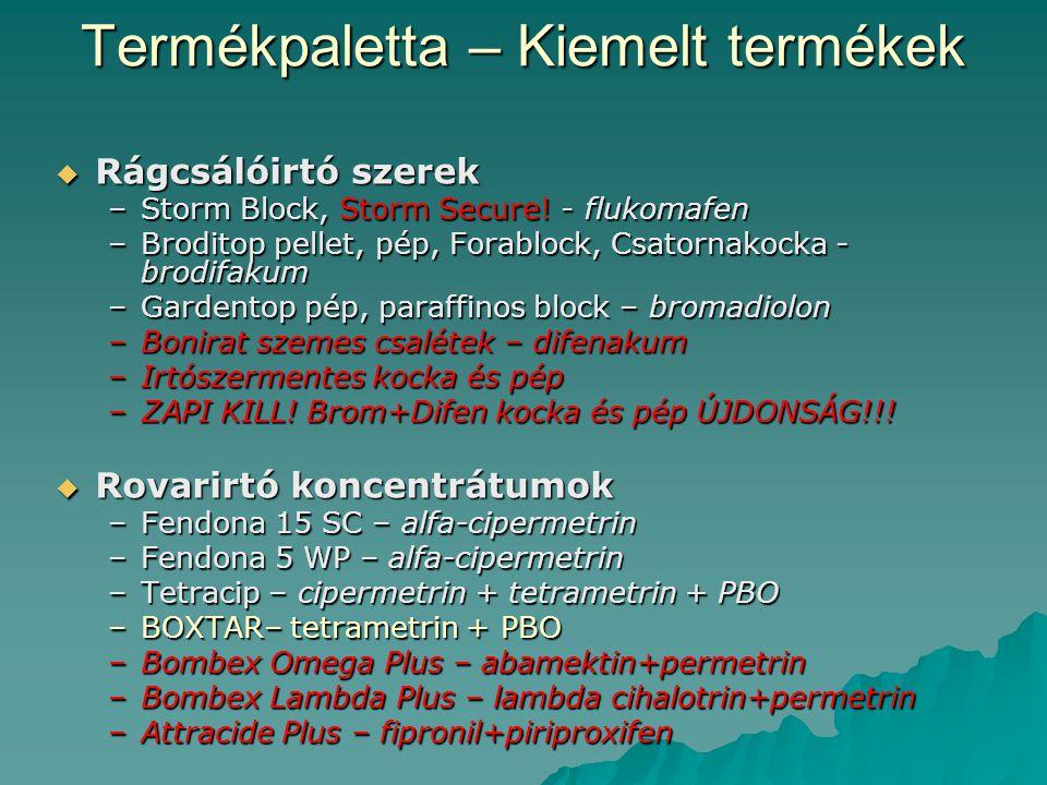 Termékpaletta – Kiemelt termékek  Rágcsálóirtó szerek –Storm Block, Storm Secure! - flukomafen –Broditop pellet, pép, Forablock, Csatornakocka - brod