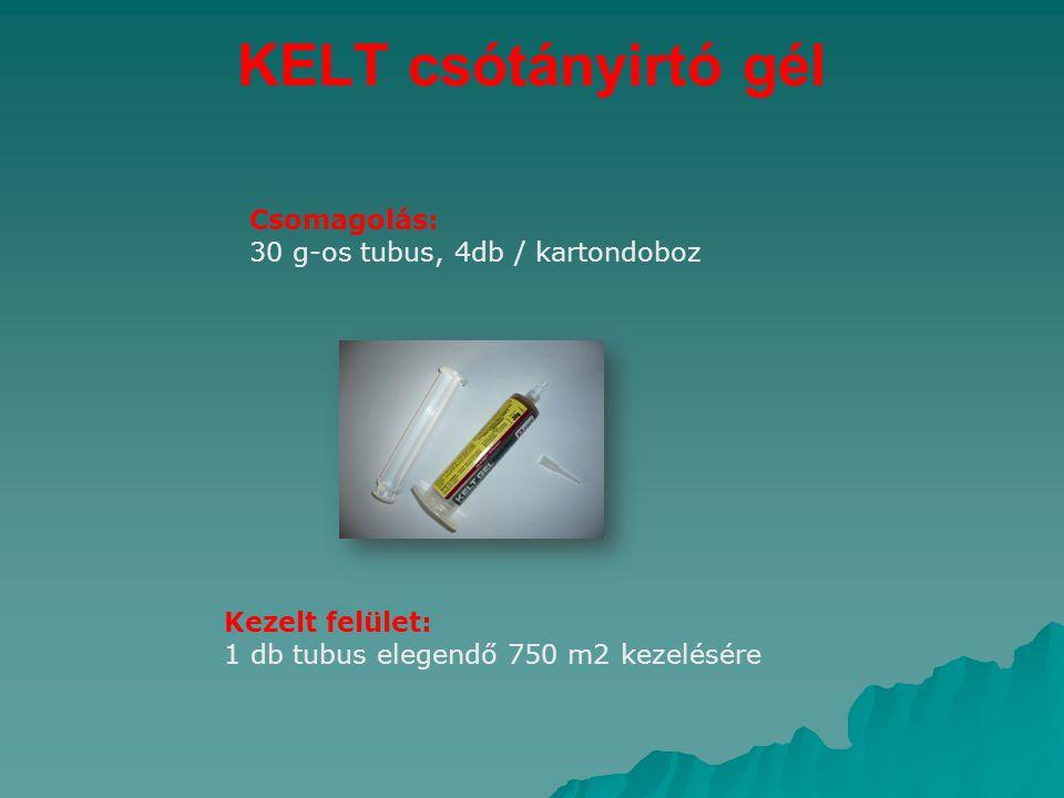 KELT csótányirtó gél Csomagolás: 30 g-os tubus, 4db / kartondoboz Kezelt felület: 1 db tubus elegendő 750 m2 kezelésére