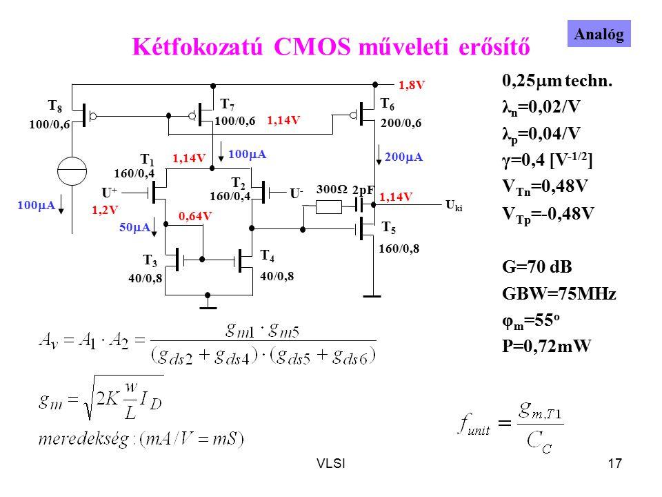 VLSI17 Kétfokozatú CMOS műveleti erősítő T1T1 T2T2 T8T8 T6T6 T5T5 T4T4 T3T3 T7T7 U+U+ U-U- 100  A 200  A 1,14V 50  A 100/0,6 1,8V 0,64V 1,14V 100/0