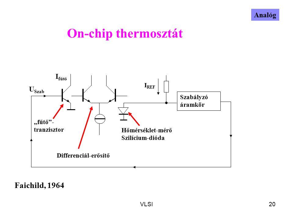"""VLSI20 On-chip thermosztát I REF U Szab Hőmérséklet-mérő Szilícium-dióda """"fűtő - tranzisztor I fűtő Differenciál-erősítő Szabályzó áramkör Faichild, 1964 Analóg"""