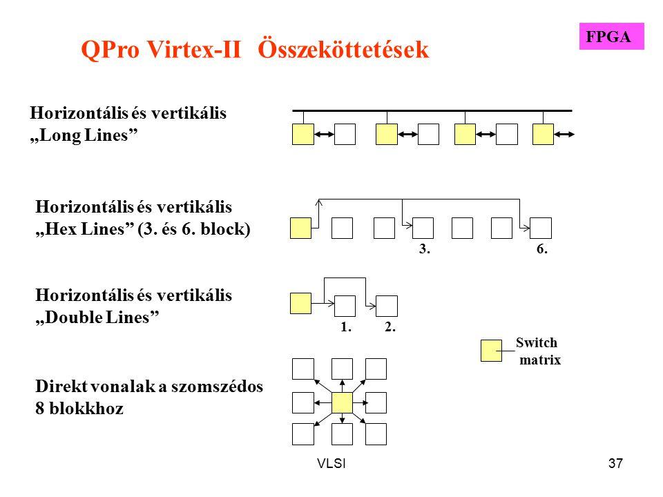 """VLSI37 QPro Virtex-II Összeköttetések Horizontális és vertikális """"Long Lines"""" Horizontális és vertikális """"Hex Lines"""" (3. és 6. block) Horizontális és"""