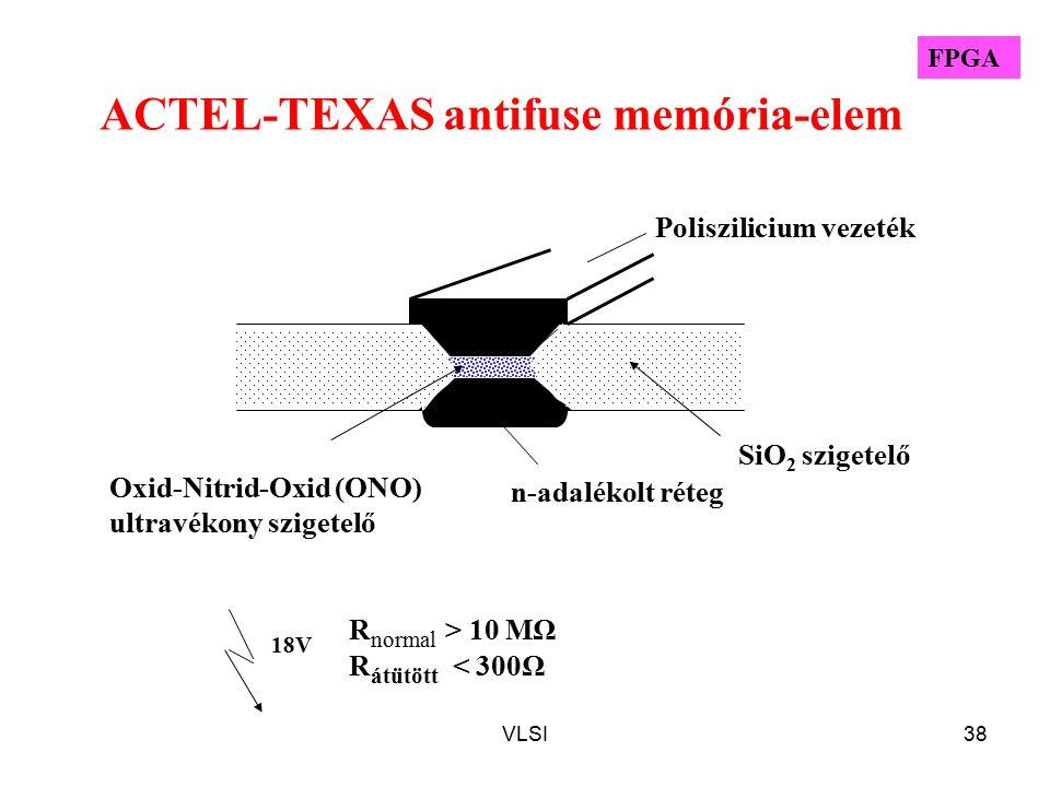 VLSI38 ACTEL-TEXAS antifuse memória-elem n-adalékolt réteg Poliszilicium vezeték SiO 2 szigetelő Oxid-Nitrid-Oxid (ONO) ultravékony szigetelő 18V R normal > 10 MΩ R átütött < 300Ω FPGA