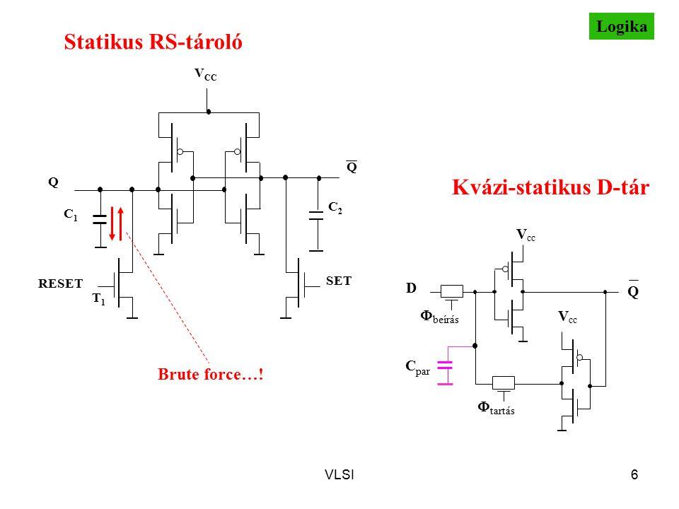 VLSI6 Statikus RS-tároló T1T1 Q C2C2 Q C1C1 SET RESET V CC V cc Q D  beírás  tartás V cc C par Kvázi-statikus D-tár Brute force…! Logika