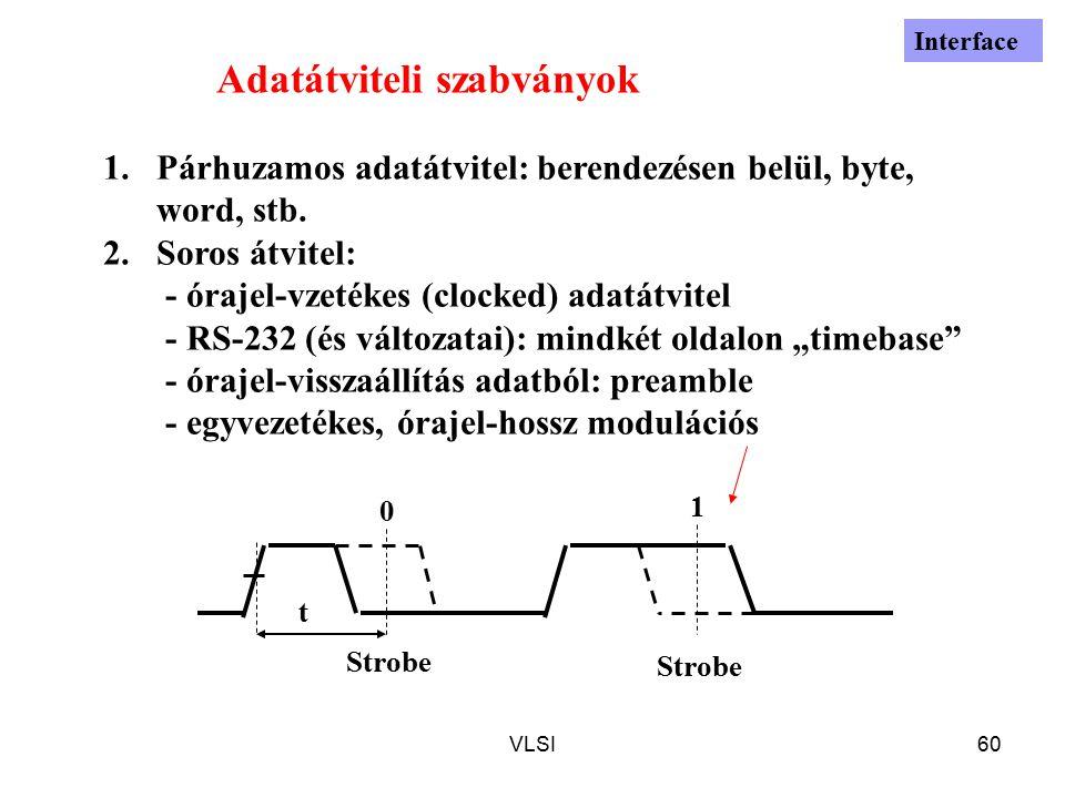 VLSI60 Adatátviteli szabványok 1.Párhuzamos adatátvitel: berendezésen belül, byte, word, stb. 2.Soros átvitel: - órajel-vzetékes (clocked) adatátvitel