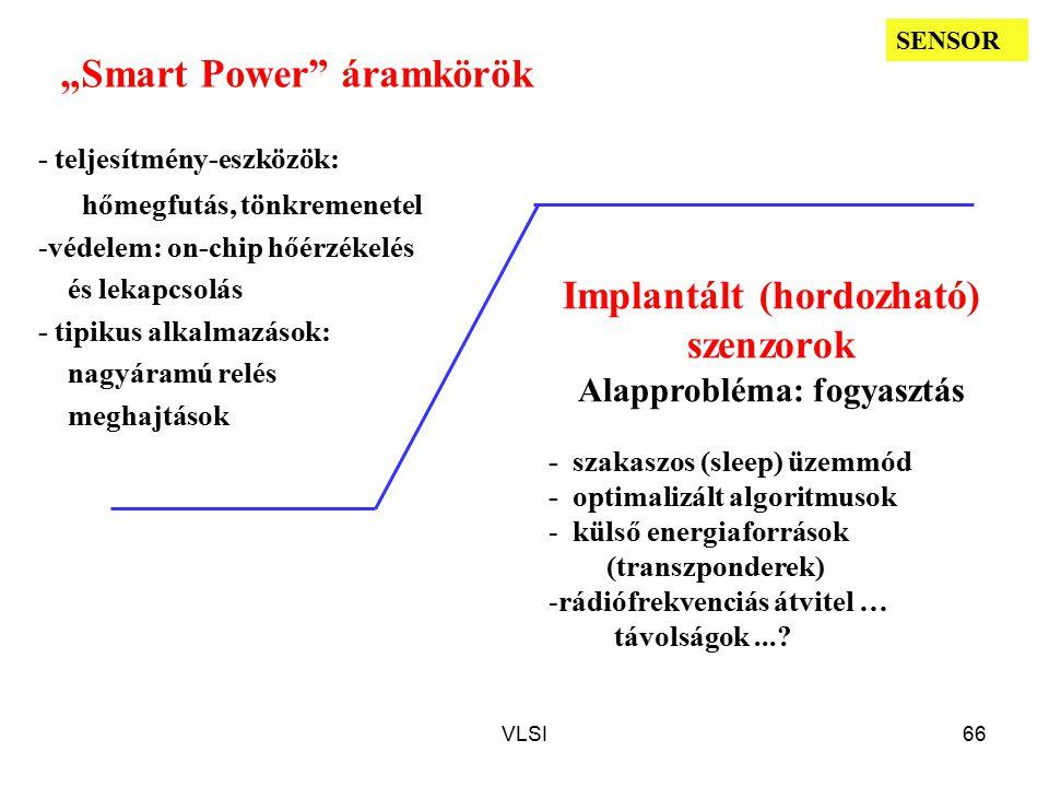 """VLSI66 """"Smart Power áramkörök - teljesítmény-eszközök: hőmegfutás, tönkremenetel -védelem: on-chip hőérzékelés és lekapcsolás - tipikus alkalmazások: nagyáramú relés meghajtások - szakaszos (sleep) üzemmód - optimalizált algoritmusok - külső energiaforrások (transzponderek) -rádiófrekvenciás átvitel … távolságok...."""