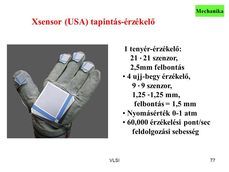 VLSI77 Xsensor (USA) tapintás-érzékelő 1 tenyér-érzékelő: 21 * 21 szenzor, 2,5mm felbontás 4 ujj-begy érzékelő, 9 * 9 szenzor, 1,25 * 1,25 mm, felbontás = 1,5 mm Nyomásérték 0-1 atm 60,000 érzékelési pont/sec feldolgozási sebesség Mechanika