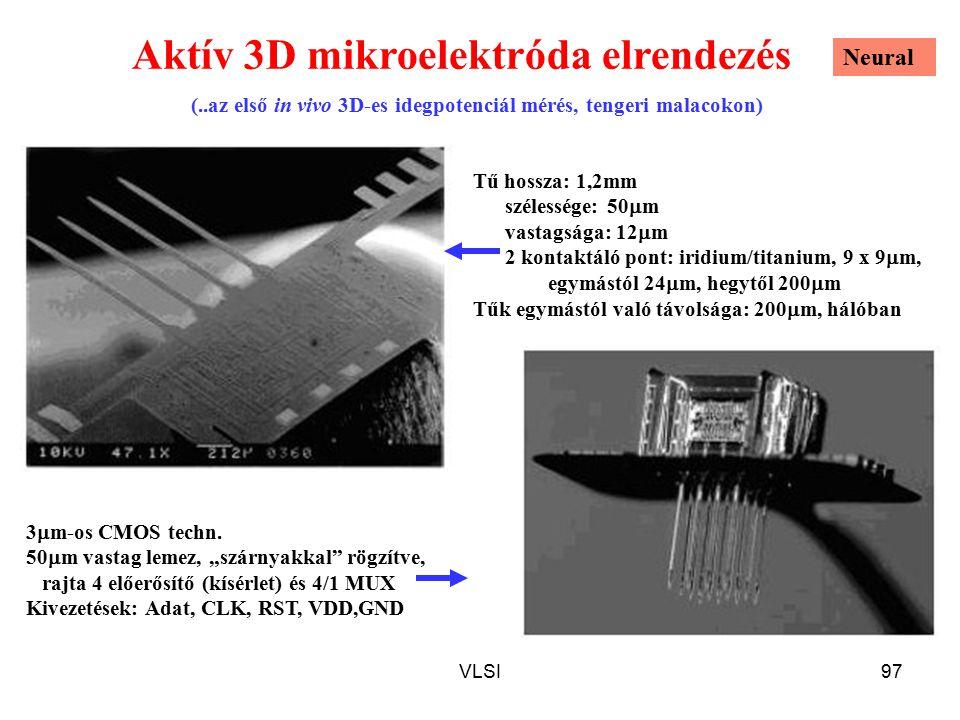 VLSI97 Aktív 3D mikroelektróda elrendezés Tű hossza: 1,2mm szélessége: 50  m vastagsága: 12  m 2 kontaktáló pont: iridium/titanium, 9 x 9  m, egymástól 24  m, hegytől 200  m Tűk egymástól való távolsága: 200  m, hálóban (..az első in vivo 3D-es idegpotenciál mérés, tengeri malacokon) 3  m-os CMOS techn.