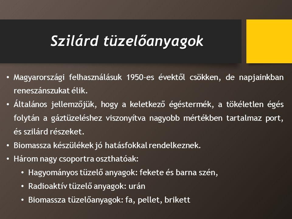 Szilárd tüzelőanyagok Magyarországi felhasználásuk 1950-es évektől csökken, de napjainkban reneszánszukat élik.