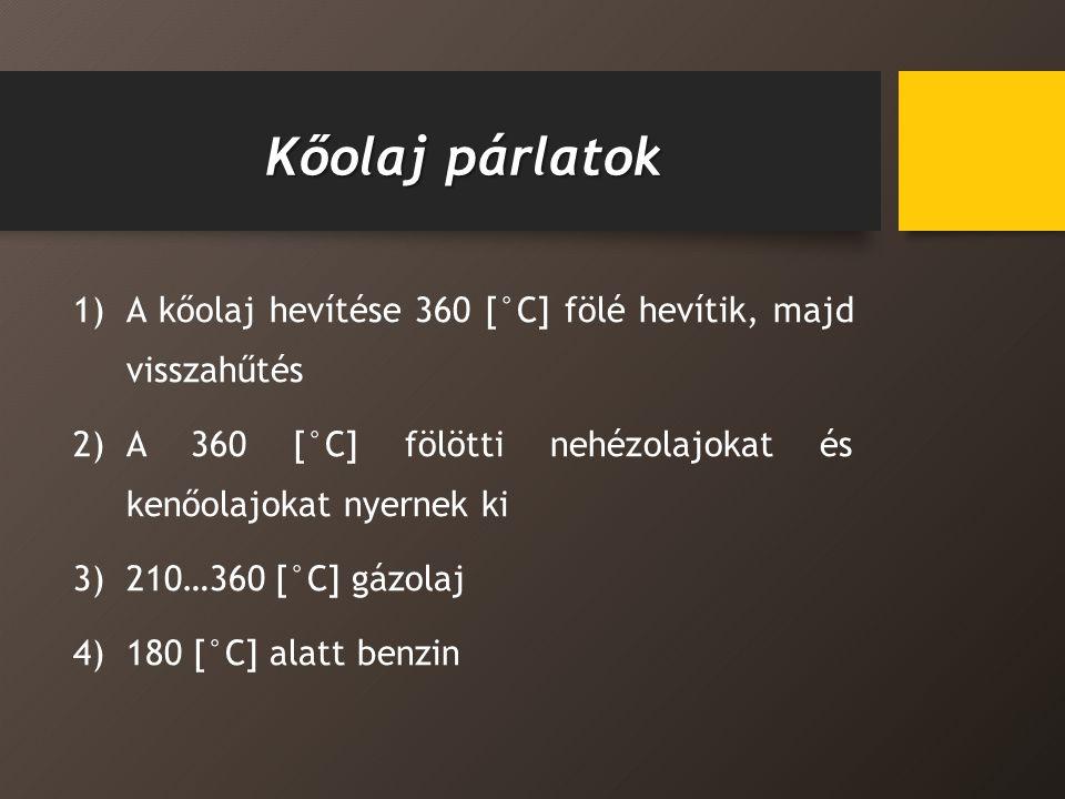 Kőolaj párlatok 1)A kőolaj hevítése 360 [°C] fölé hevítik, majd visszahűtés 2)A 360 [°C] fölötti nehézolajokat és kenőolajokat nyernek ki 3)210…360 [°C] gázolaj 4)180 [°C] alatt benzin