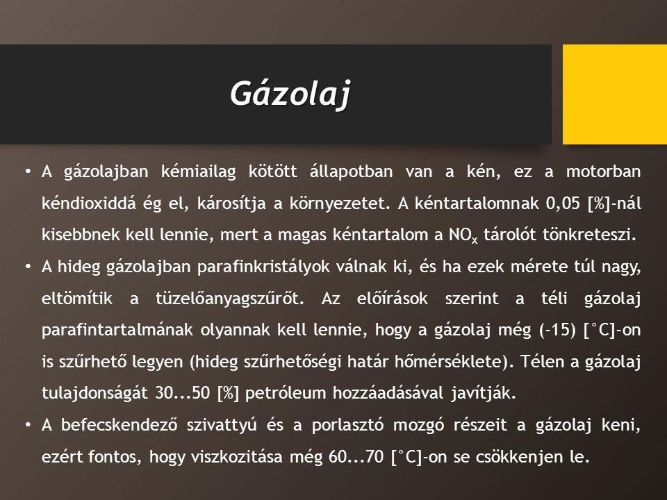 Gázolaj A gázolajban kémiailag kötött állapotban van a kén, ez a motorban kéndioxiddá ég el, károsítja a környezetet.