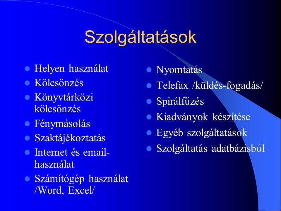 Szolgáltatások Helyen használat Kölcsönzés Könyvtárközi kölcsönzés Fénymásolás Szaktájékoztatás Internet és email- használat Számítógép használat /Word, Excel/ Nyomtatás Telefax /küldés-fogadás/ Spirálfűzés Kiadványok készítése Egyéb szolgáltatások Szolgáltatás adatbázisból