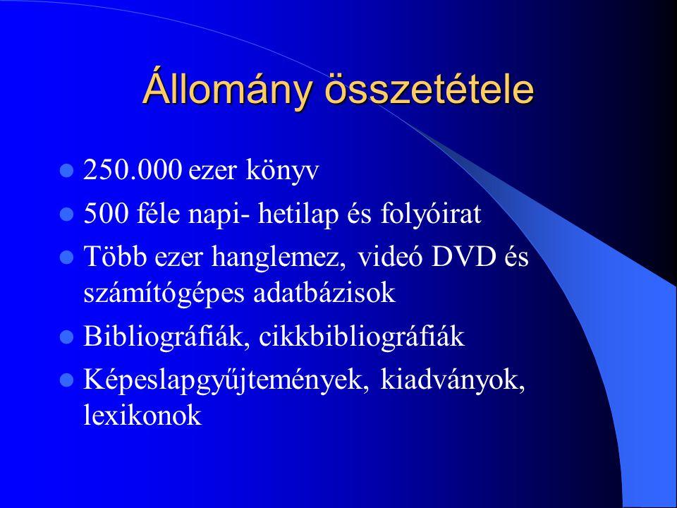 Állomány összetétele 250.000 ezer könyv 500 féle napi- hetilap és folyóirat Több ezer hanglemez, videó DVD és számítógépes adatbázisok Bibliográfiák, cikkbibliográfiák Képeslapgyűjtemények, kiadványok, lexikonok