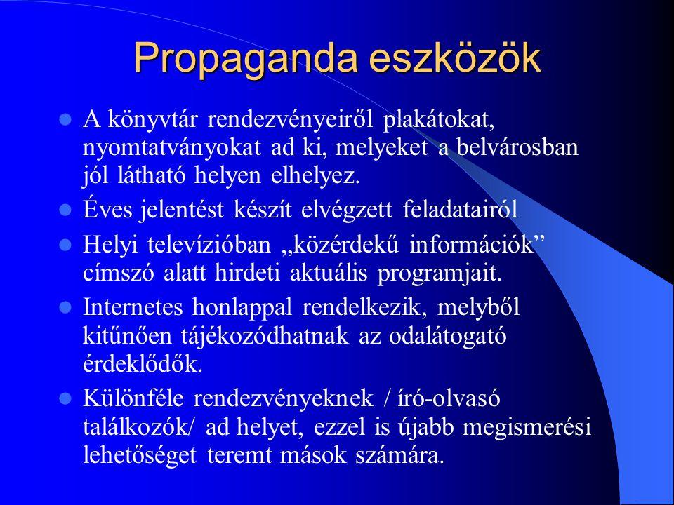 Propaganda eszközök A könyvtár rendezvényeiről plakátokat, nyomtatványokat ad ki, melyeket a belvárosban jól látható helyen elhelyez.