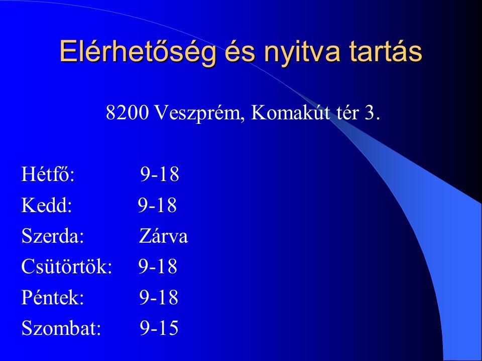 Elérhetőség és nyitva tartás 8200 Veszprém, Komakút tér 3.