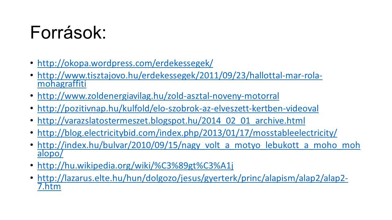 Források: http://okopa.wordpress.com/erdekessegek/ http://www.tisztajovo.hu/erdekessegek/2011/09/23/hallottal-mar-rola- mohagraffiti http://www.tiszta