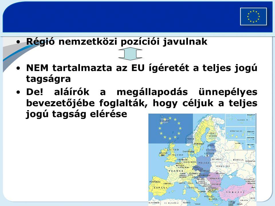 Régió nemzetközi pozíciói javulnak NEM tartalmazta az EU ígéretét a teljes jogú tagságra De.