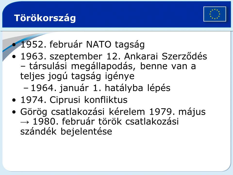 Törökország 1952.február NATO tagság 1963. szeptember 12.