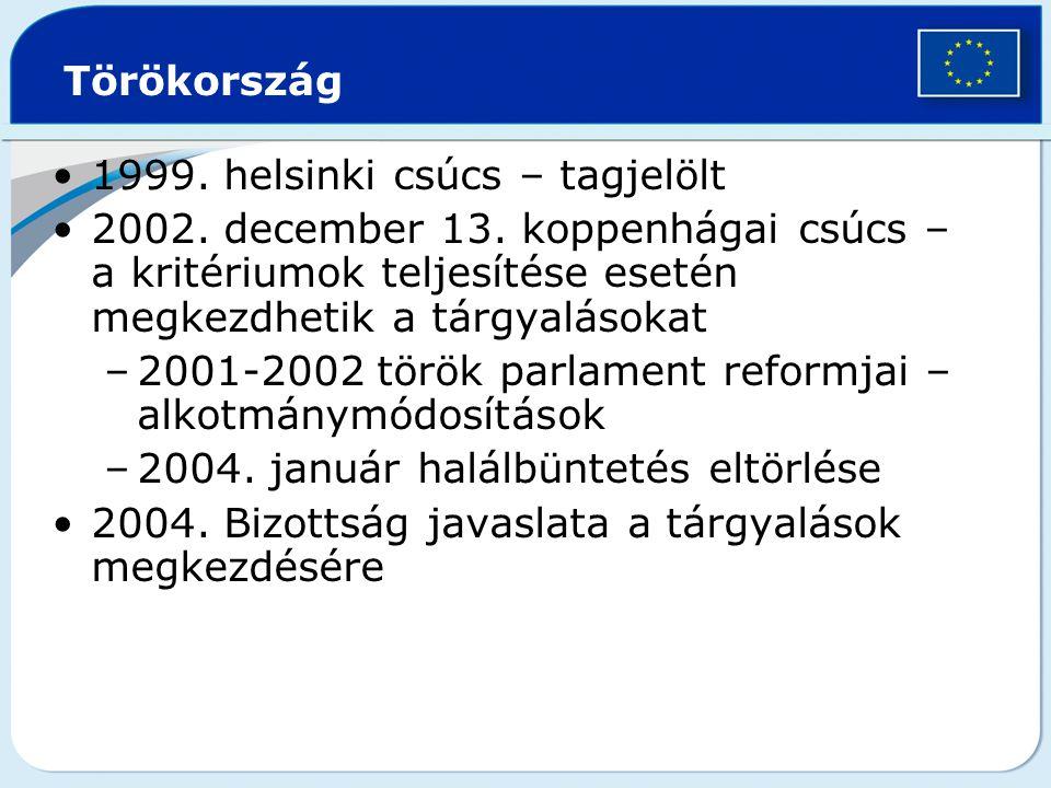 Törökország 1999.helsinki csúcs – tagjelölt 2002.