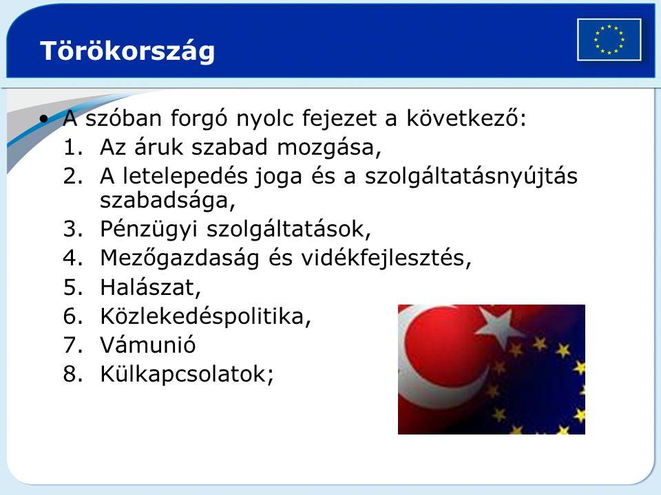 Törökország A szóban forgó nyolc fejezet a következő: 1.Az áruk szabad mozgása, 2.A letelepedés joga és a szolgáltatásnyújtás szabadsága, 3.Pénzügyi szolgáltatások, 4.Mezőgazdaság és vidékfejlesztés, 5.Halászat, 6.Közlekedéspolitika, 7.Vámunió 8.Külkapcsolatok;