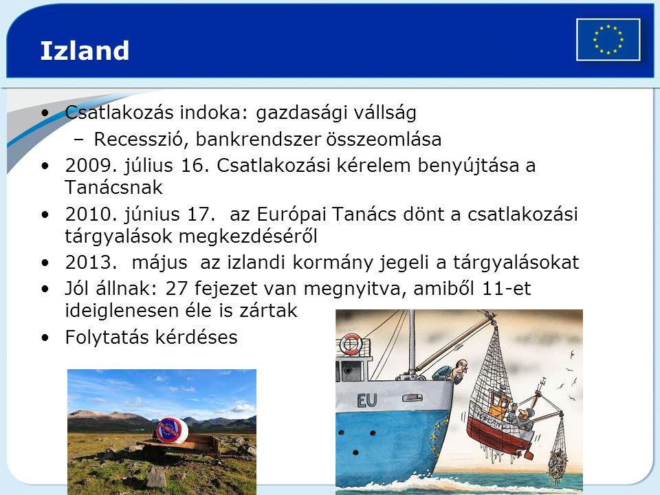 Izland Csatlakozás indoka: gazdasági vállság –Recesszió, bankrendszer összeomlása 2009.