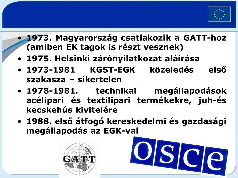 1973.Magyarország csatlakozik a GATT-hoz (amiben EK tagok is részt vesznek) 1975.