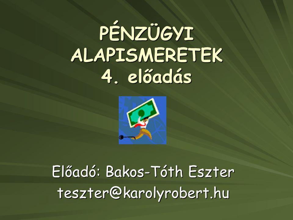 PÉNZÜGYI ALAPISMERETEK 4. előadás Előadó: Bakos-Tóth Eszter teszter@karolyrobert.hu