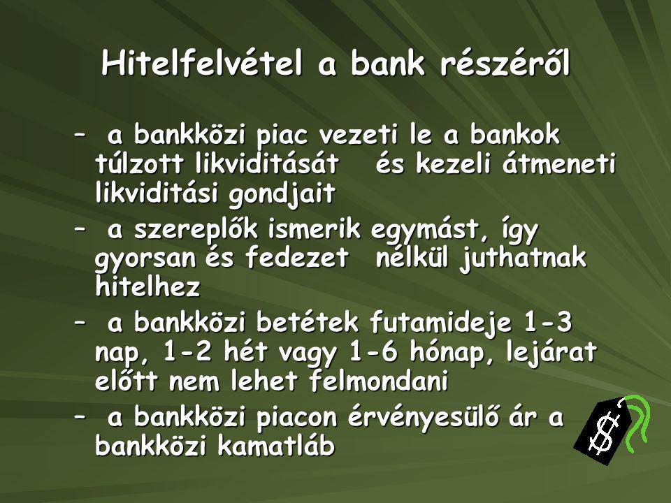 Hitelfelvétel a bank részéről –a bankközi piac vezeti le a bankok túlzott likviditását és kezeli átmeneti likviditási gondjait –a szereplők ismerik eg