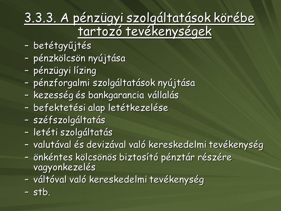 3.3.3. A pénzügyi szolgáltatások körébe tartozó tevékenységek –betétgyűjtés –pénzkölcsön nyújtása –pénzügyi lízing –pénzforgalmi szolgáltatások nyújtá