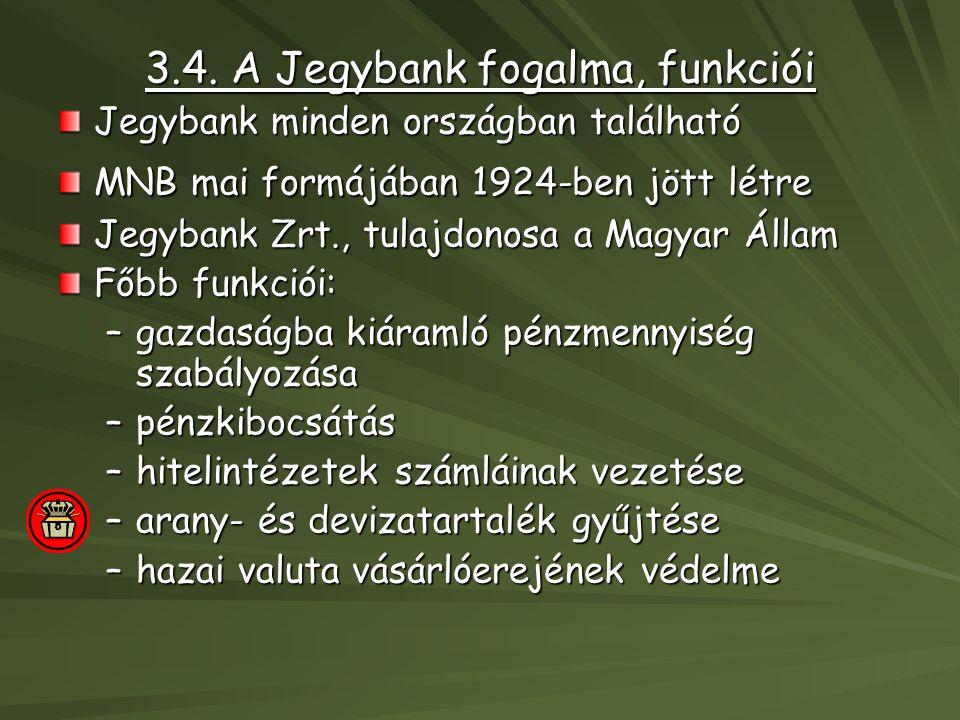 3.4. A Jegybank fogalma, funkciói Jegybank minden országban található MNB mai formájában 1924-ben jött létre Jegybank Zrt., tulajdonosa a Magyar Állam