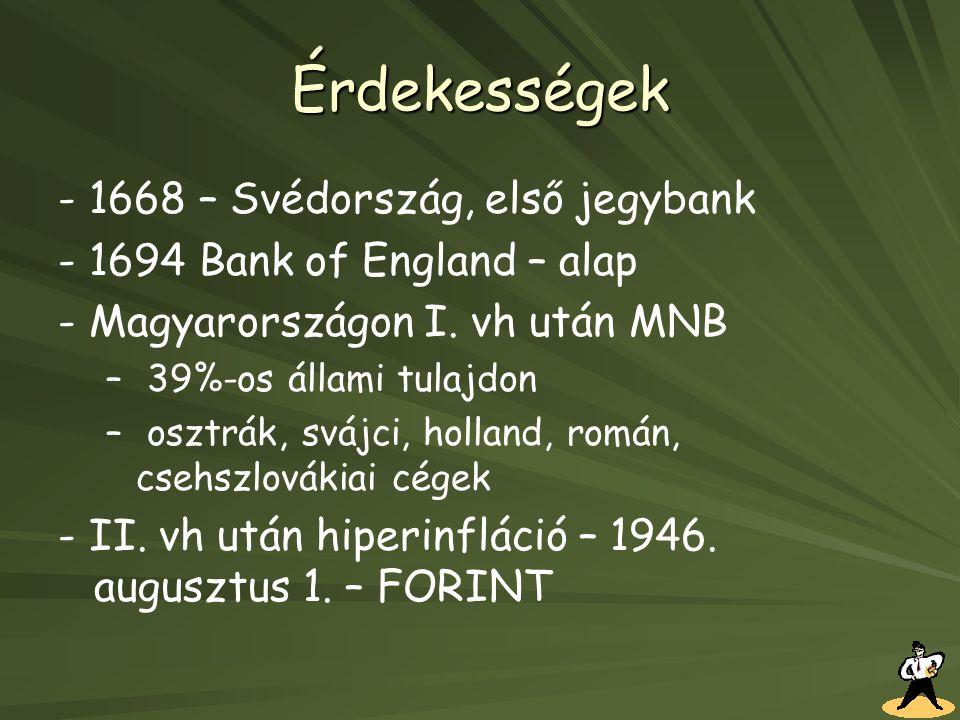 Érdekességek - 1668 – Svédország, első jegybank - 1694 Bank of England – alap - Magyarországon I. vh után MNB – – 39%-os állami tulajdon – – osztrák,
