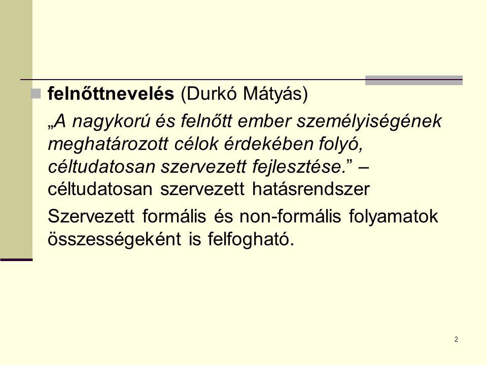 """2 felnőttnevelés (Durkó Mátyás) """"A nagykorú és felnőtt ember személyiségének meghatározott célok érdekében folyó, céltudatosan szervezett fejlesztése."""