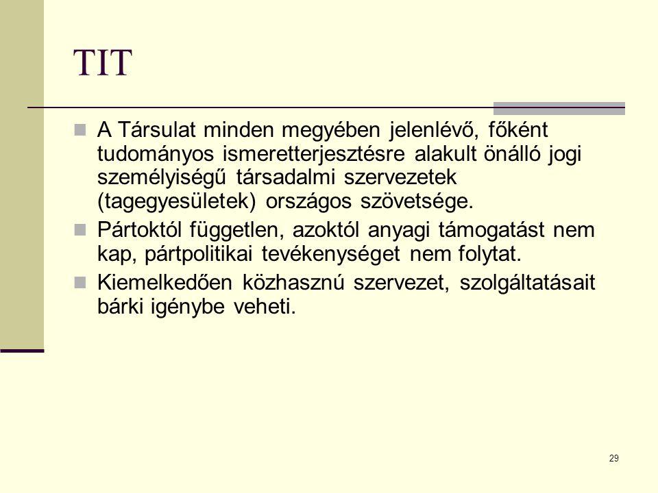 29 TIT A Társulat minden megyében jelenlévő, főként tudományos ismeretterjesztésre alakult önálló jogi személyiségű társadalmi szervezetek (tagegyesül