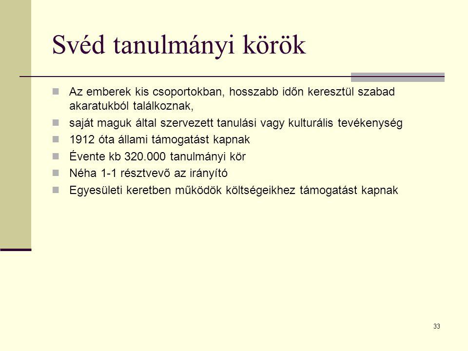 33 Svéd tanulmányi körök Az emberek kis csoportokban, hosszabb időn keresztül szabad akaratukból találkoznak, saját maguk által szervezett tanulási va