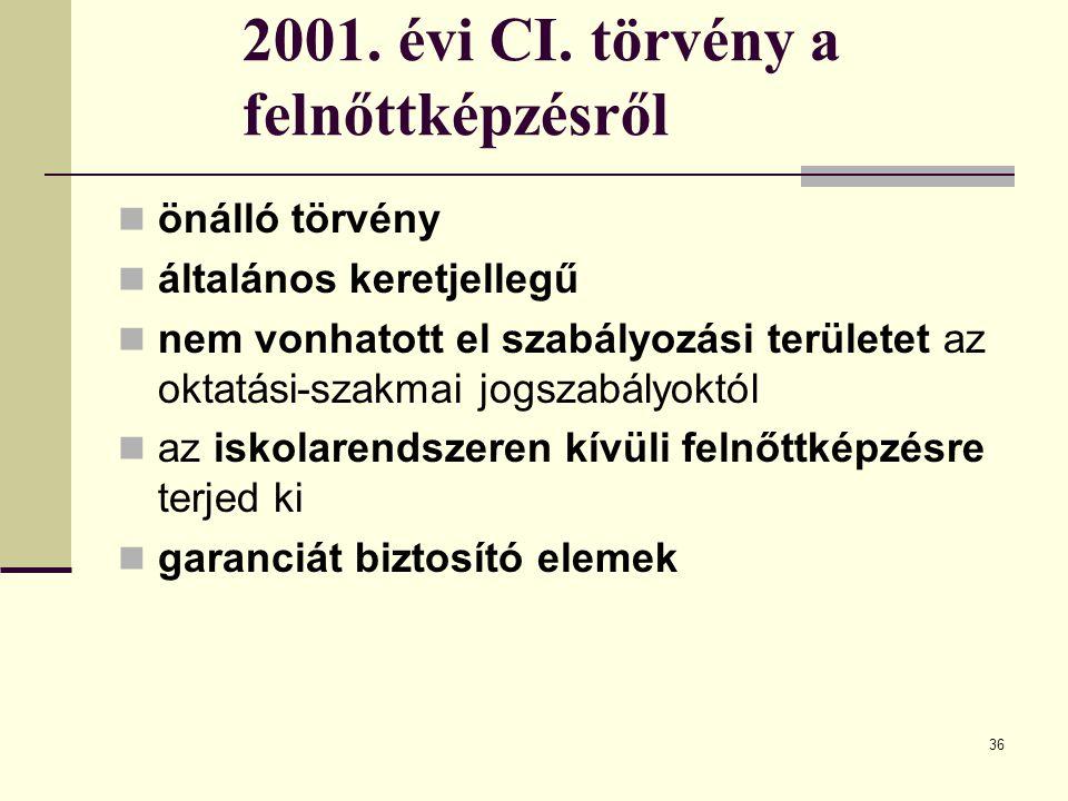 36 2001. évi CI. törvény a felnőttképzésről önálló törvény általános keretjellegű nem vonhatott el szabályozási területet az oktatási-szakmai jogszabá