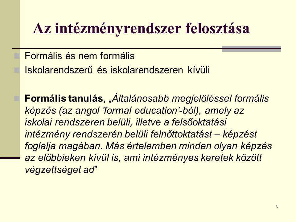 """8 Az intézményrendszer felosztása Formális és nem formális Iskolarendszerű és iskolarendszeren kívüli Formális tanulás, """"Általánosabb megjelöléssel fo"""