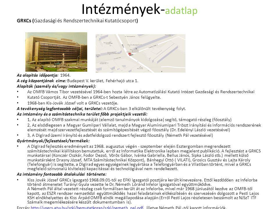 Intézmények- adatlap GRKCs (Gazdasági és Rendszertechnikai Kutatócsoport) Az alapítás időpontja: 1964.