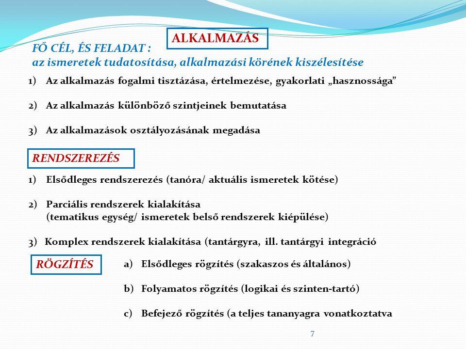 7 ALKALMAZÁS FŐ CÉL, ÉS FELADAT : az ismeretek tudatosítása, alkalmazási körének kiszélesítése 1)Az alkalmazás fogalmi tisztázása, értelmezése, gyakor