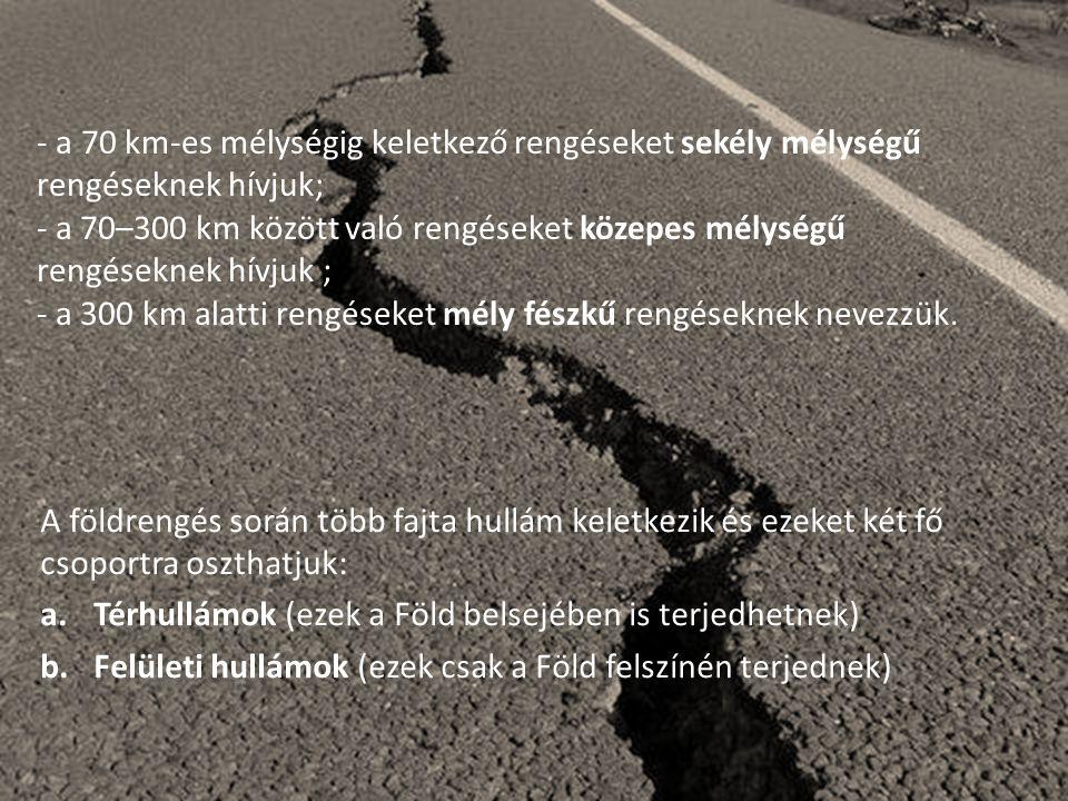A földrengés során több fajta hullám keletkezik és ezeket két fő csoportra oszthatjuk: a.Térhullámok (ezek a Föld belsejében is terjedhetnek) b.Felüle