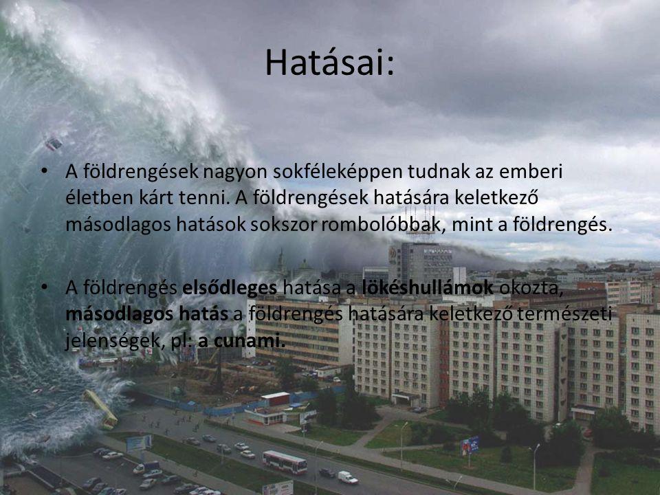 Hatásai: A földrengések nagyon sokféleképpen tudnak az emberi életben kárt tenni. A földrengések hatására keletkező másodlagos hatások sokszor romboló