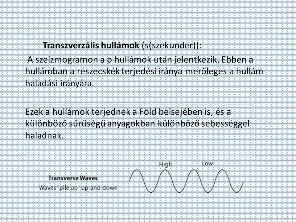 Transzverzális hullámok (s(szekunder)): A szeizmogramon a p hullámok után jelentkezik. Ebben a hullámban a részecskék terjedési iránya merőleges a hul