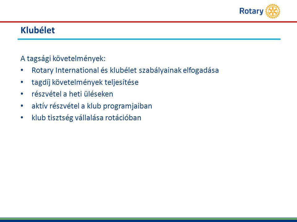 Klubélet A tagsági követelmények: Rotary International és klubélet szabályainak elfogadása tagdíj követelmények teljesítése részvétel a heti üléseken aktív részvétel a klub programjaiban klub tisztség vállalása rotációban
