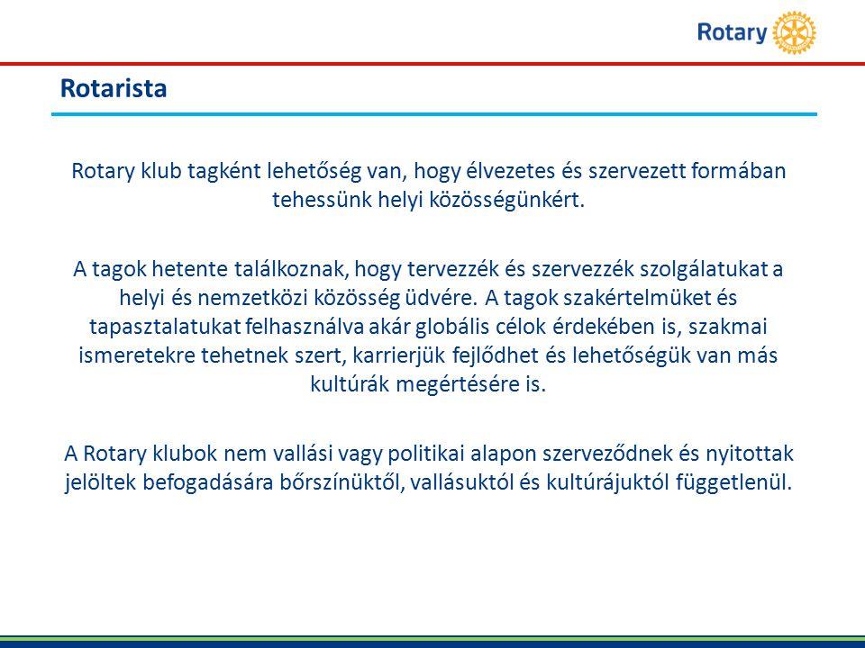Rotarista Rotary klub tagként lehetőség van, hogy élvezetes és szervezett formában tehessünk helyi közösségünkért.