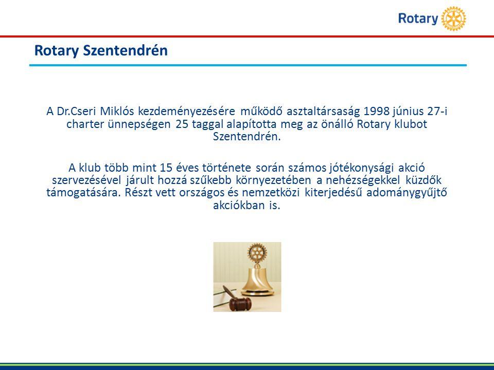 Rotary Szentendrén A Dr.Cseri Miklós kezdeményezésére működő asztaltársaság 1998 június 27-i charter ünnepségen 25 taggal alapította meg az önálló Rotary klubot Szentendrén.